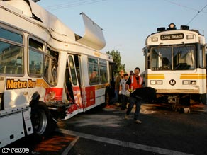 Metro Train and Metro Bus Collide in Los Angeles, California