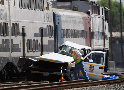 Metrolink commuter train crash in Los Angeles