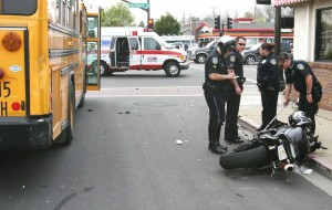 Scene of motorcycle accident in Lodi, California