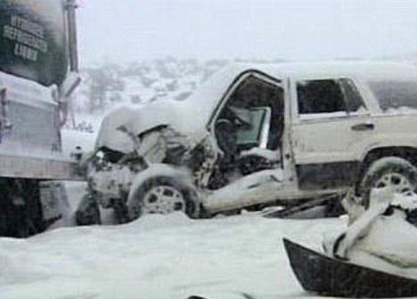 Scene of the 40 vehicle pileup west the Yuba Gap