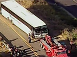Scene of Bus Crash in Fairfield, California on the I-80