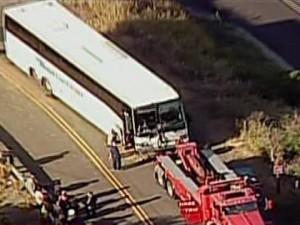Scene of Bus Crash in Fairfield, California on the I-80