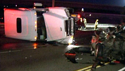 Scene of fatal big rig truck accident in Pomona, California