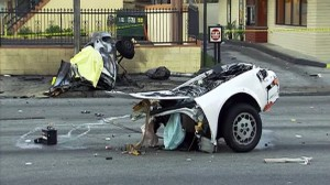 Scene of fatal car accident in Pomona, California