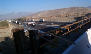 Scene of Crane Accident on the I-10 in Cathedral