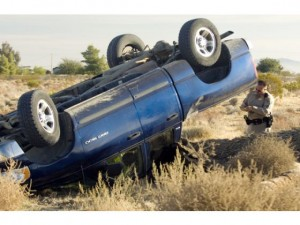 Scene of Rollover Crash in Phelan, California