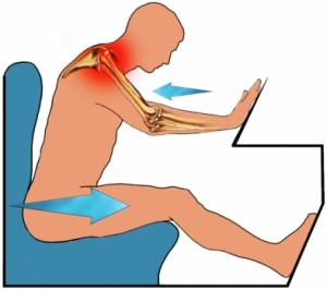 Graphic showing shoulder injury in a car crash